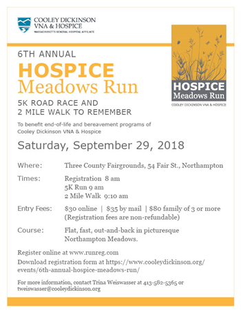 6th Annual Meadows 5K Run/Walk to benefit Cooley Dickinson